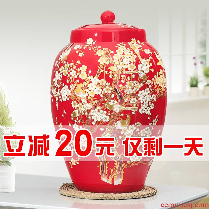 Jingdezhen ceramic barrel pack ricer box store 30 jins of 50 meters with cover household moistureproof insect - resistant rice jar airtight