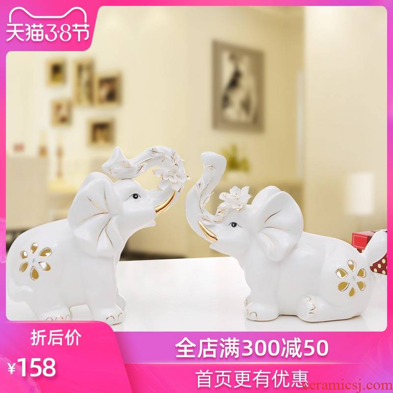 European - style decoration home decoration ceramic creative wedding gift crafts desktop furnishing articles elephants living room