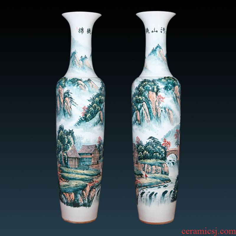 Jingdezhen ceramics hand - made Chinese landscape painting of large vase decoration to the hotel lobby villa large furnishing articles