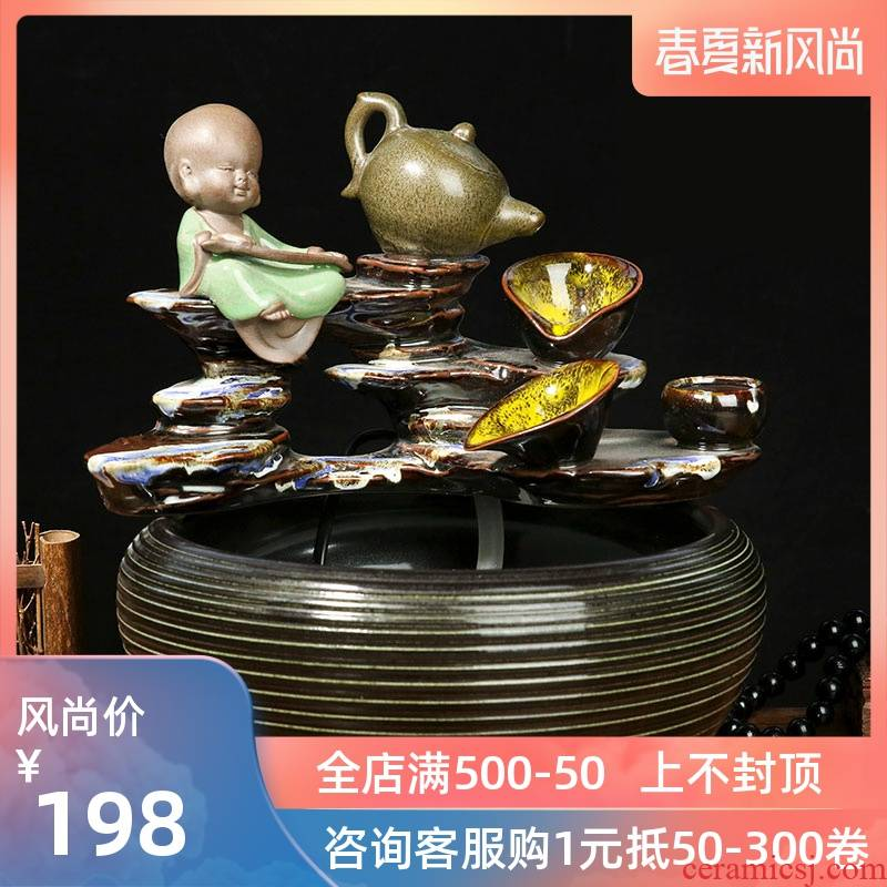 Jingdezhen ceramic aquarium water fountain cycle creative decoration humidifier furnishing articles sitting room of the water