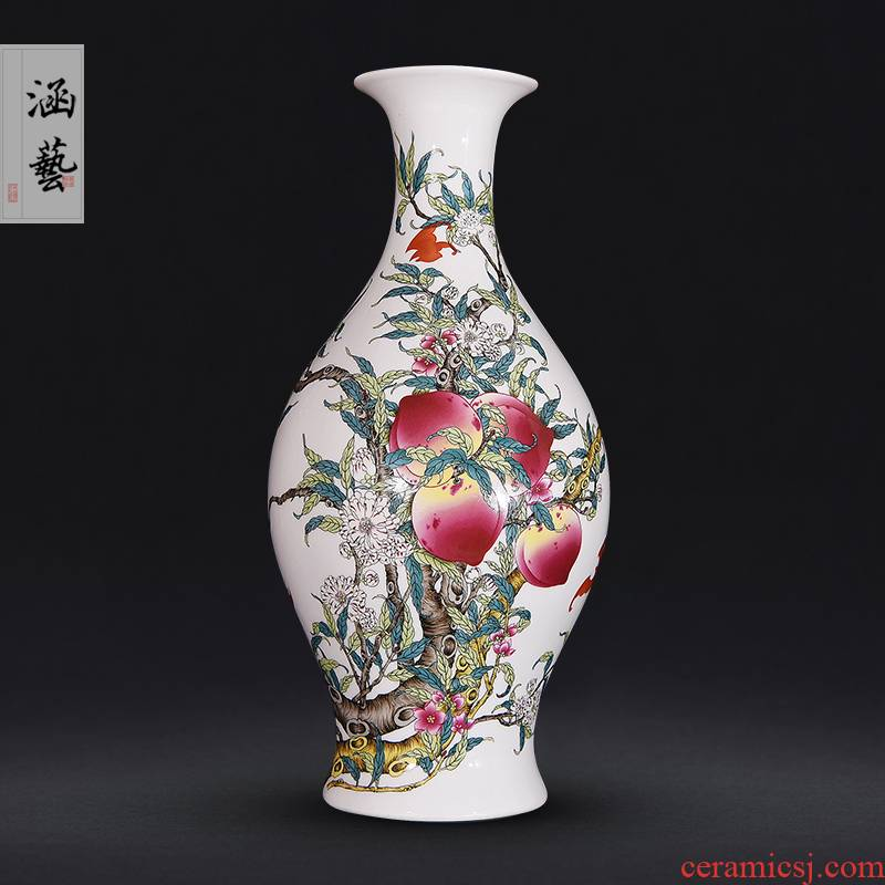 Jingdezhen ceramics ceramic flat peach antique vase sitting room place flower arrangement of new Chinese style decoration craft gift