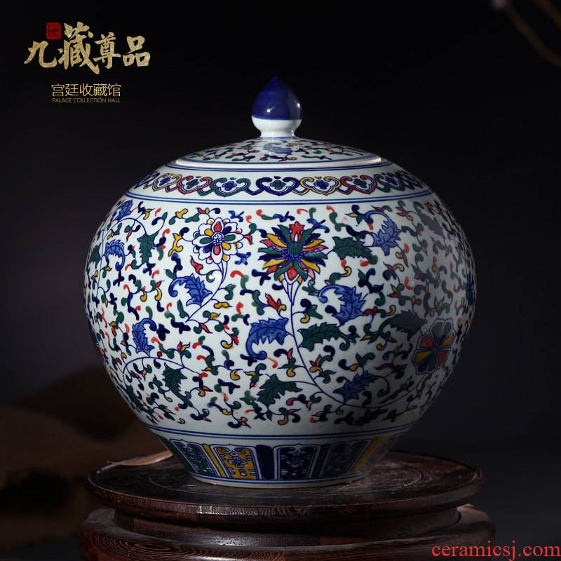 Furnishing articles jingdezhen blue and white porcelain ceramic vase hand - made color cover pot sitting room adornment storage tank household decoration