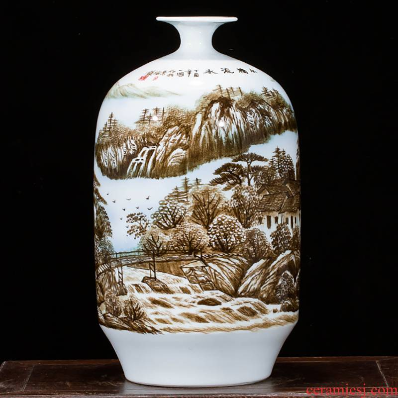 Jingdezhen ceramics landscape hand - made vases, flower arranging furnishing articles study of new Chinese style household act the role ofing is tasted sitting room porch