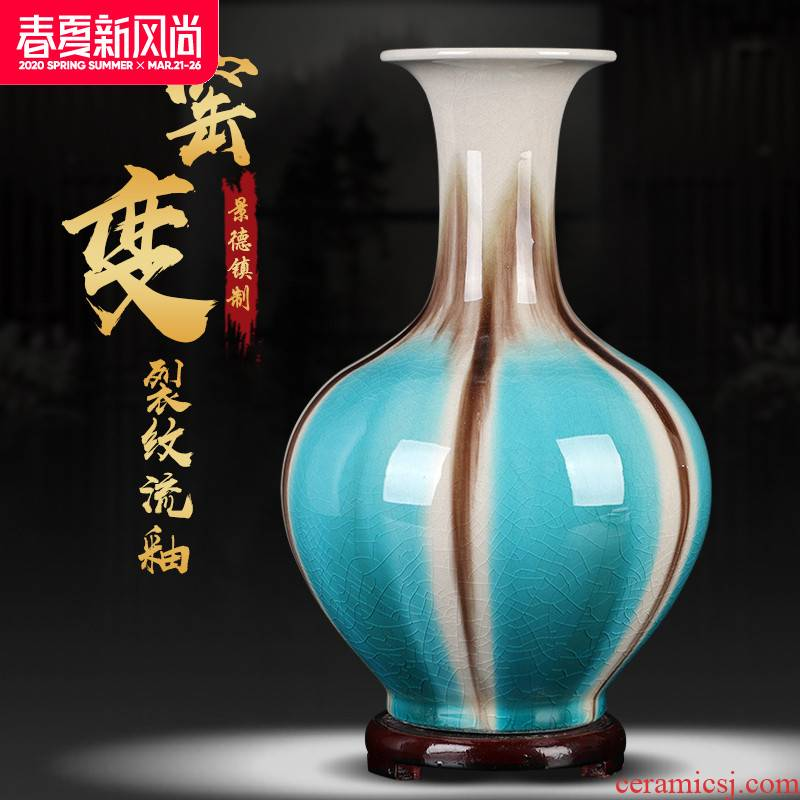 Jingdezhen ceramic vase furnishing articles archaize sitting room creative up open piece of flower arranging machine cabinet table decoration at home