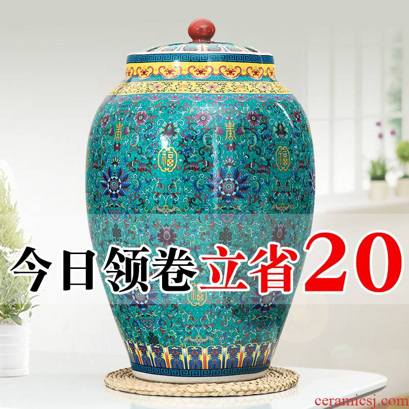 Jingdezhen barrel ricer box 20 jins 30 jins of 50 pounds with cover cylinder tank storage tank of household ceramics moistureproof cylinder