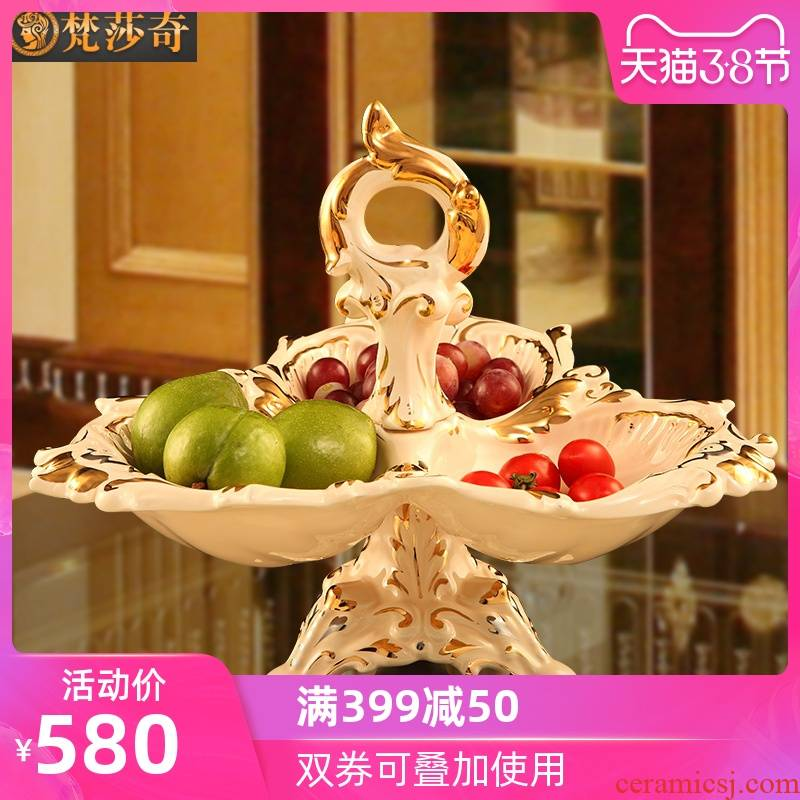 Key-2 Luxury dry fruit tray, snacks, candy dishes creative household ceramics in the living room European - style compote