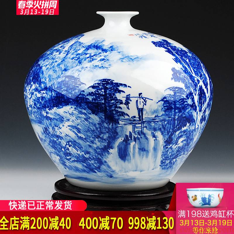 Jingdezhen blue and white landscape painting big celebrity virtuosi Wu Wenhan hand - made ceramics vase penjing collection certificate