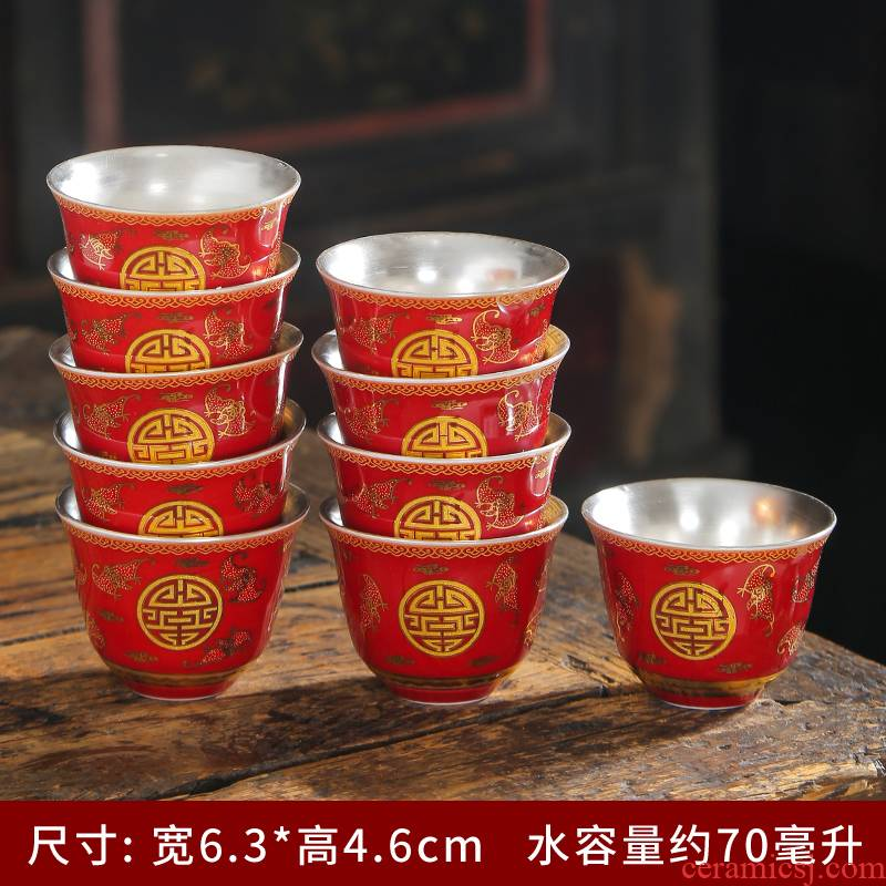 Ceramic cups of tea one kung fu master built light tea sample tea cup single CPU private custom engraving logo lettering
