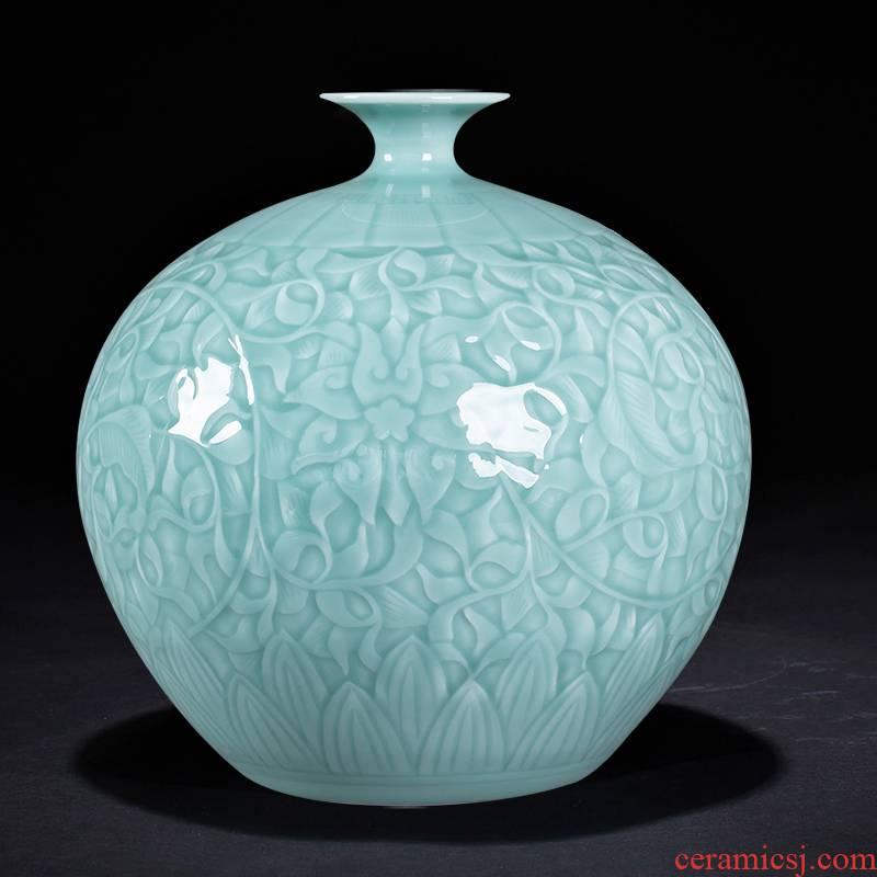 Jingdezhen ceramics vase furnishing articles flower arranging blue glaze pomegranate bottles of new Chinese style household rich ancient frame sitting room adornment
