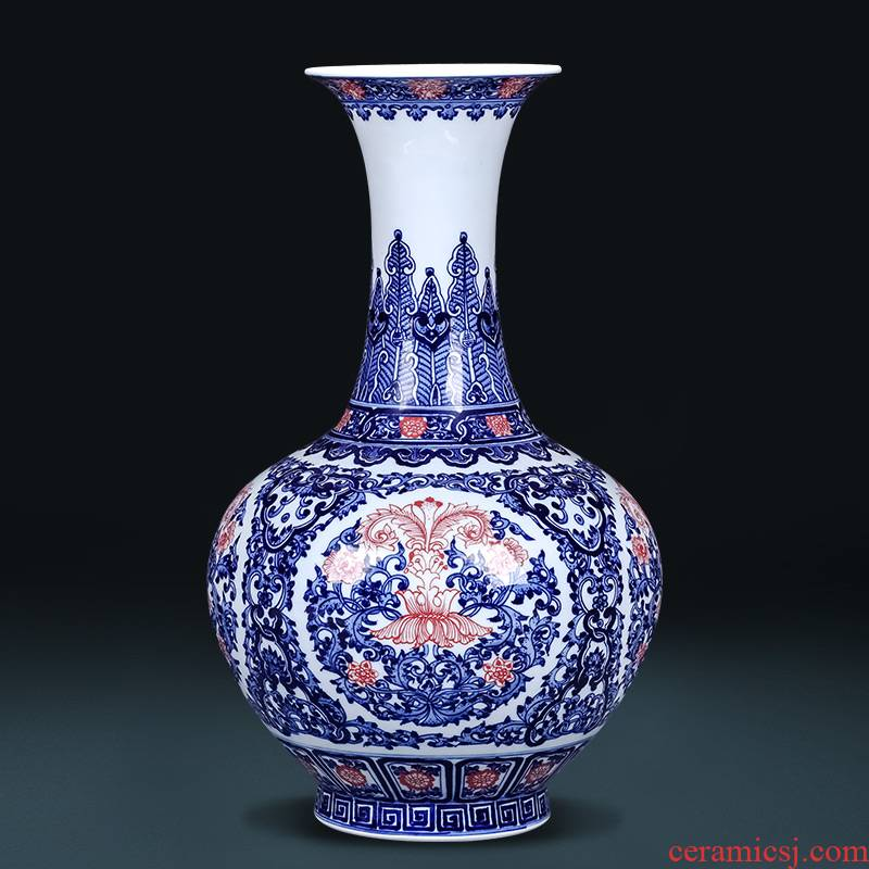 Jingdezhen ceramics imitation qianlong hand - made of blue and white porcelain vases, flower arranging new Chinese style living room TV cabinet decorative furnishing articles