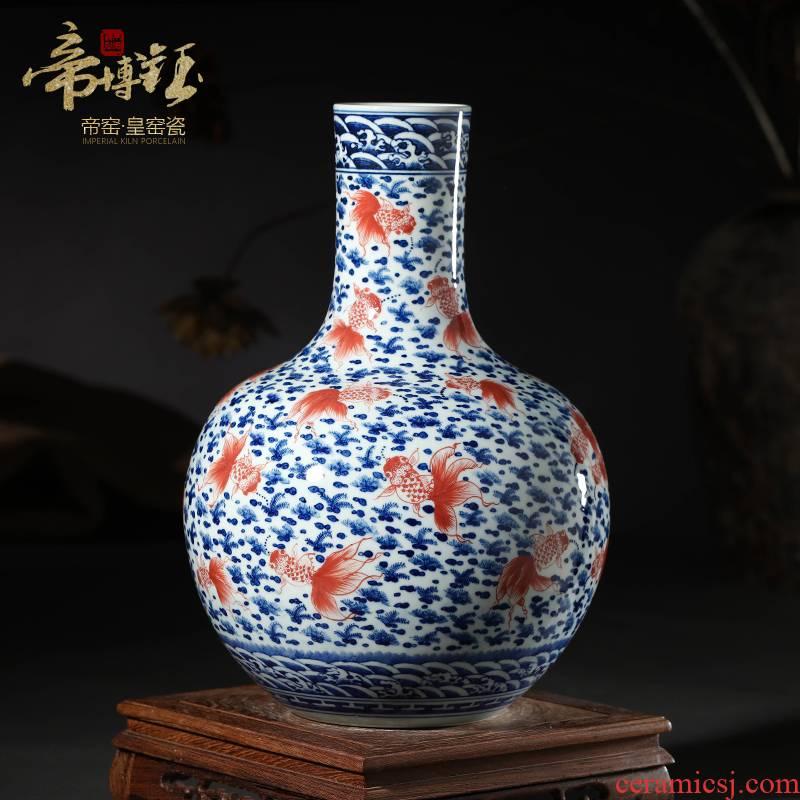 Jingdezhen ceramic vases, antique hand - made porcelain youligong large sitting room I the tree handicraft furnishing articles