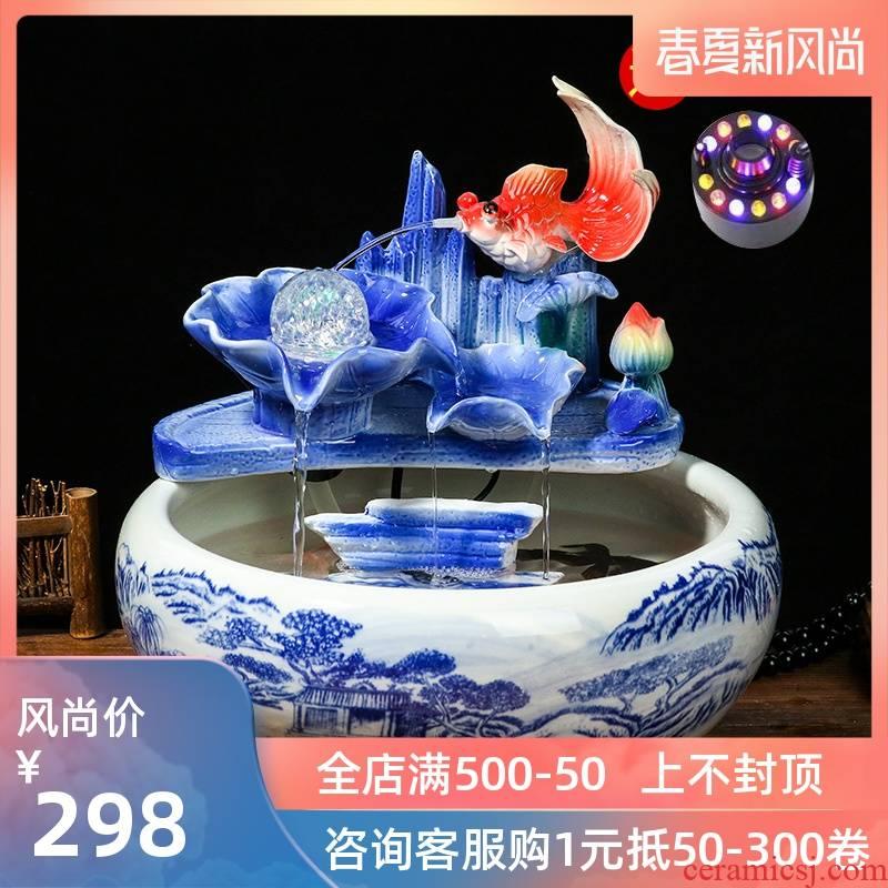 Jingdezhen ceramic aquarium, small water fountain decoration aquarium circulating water fish creative home furnishing articles