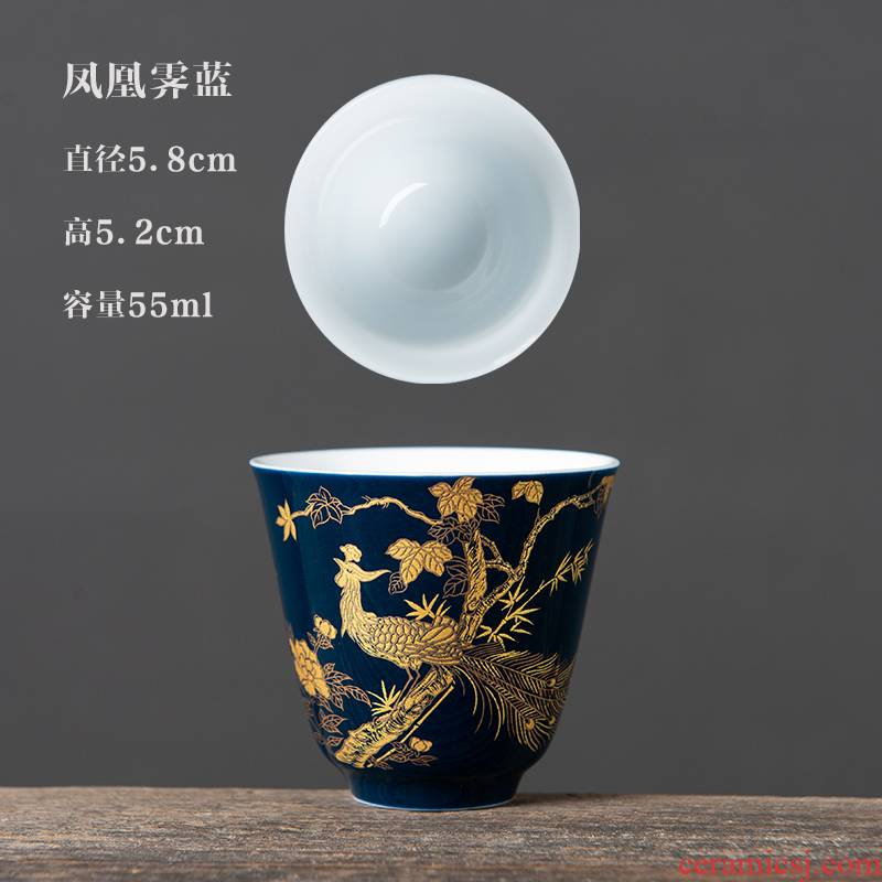 Built lamp cup suit up with the master cup tea ceramic temmoku, single CPU kung fu tea set a single small sample tea cup