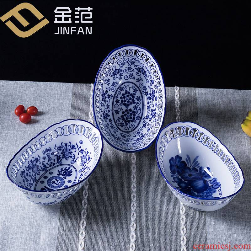 Ceramic fruit bowl hollow out fruit basket home sitting room candy dry fruit snacks basin salad bowl tea table furnishing articles