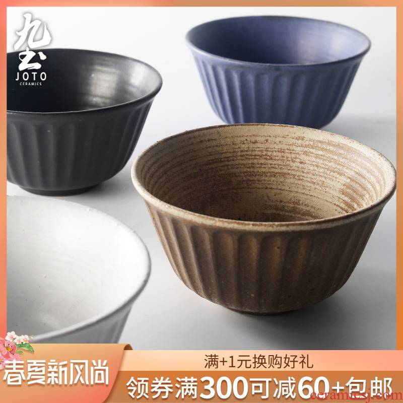 About Nine Japanese coarse ceramic tableware manual mercifully rainbow such to use retro soil bowl of soup bowl bowl of salad bowl household couples microwave