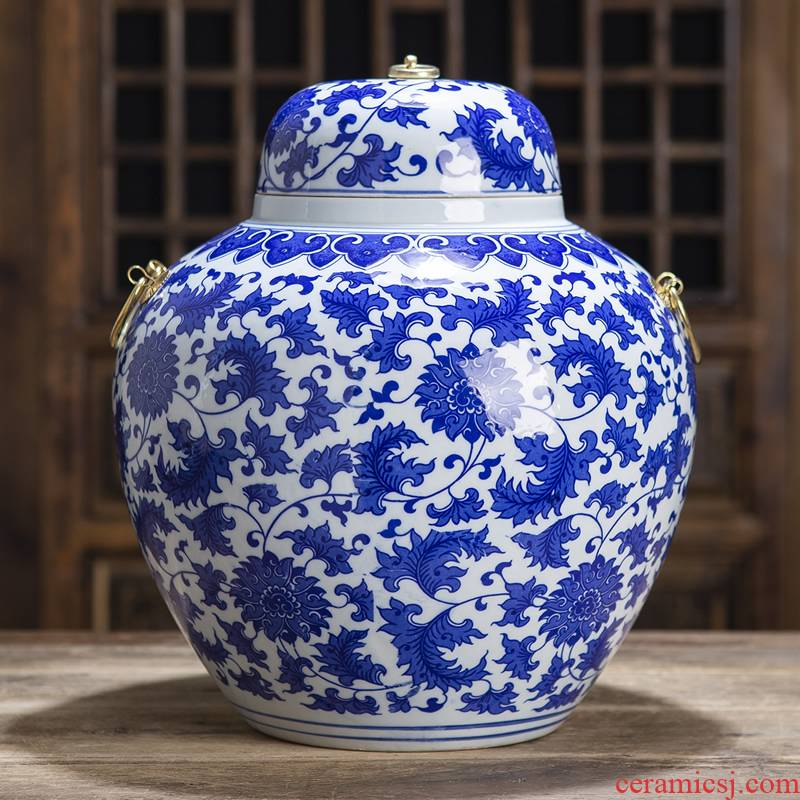 Jingdezhen ceramic tank storage tank general blue and white porcelain jar with cover caddy fixings home furnishing articles home decoration