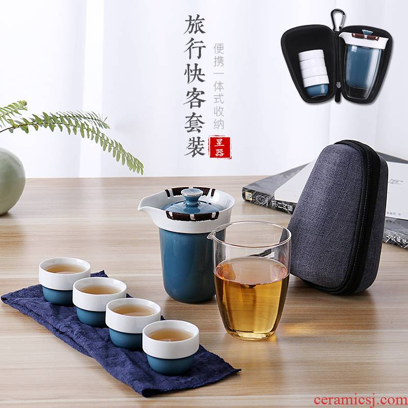 Yu is a portable travel kung fu tea set ceramic glass cup to crack a pot of four cups of is suing the car make tea