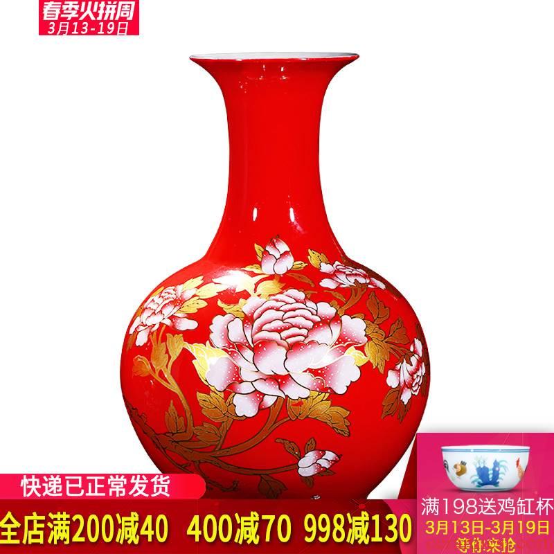 Jingdezhen ceramics China red peony vase of large sitting room place, home decoration wedding gift