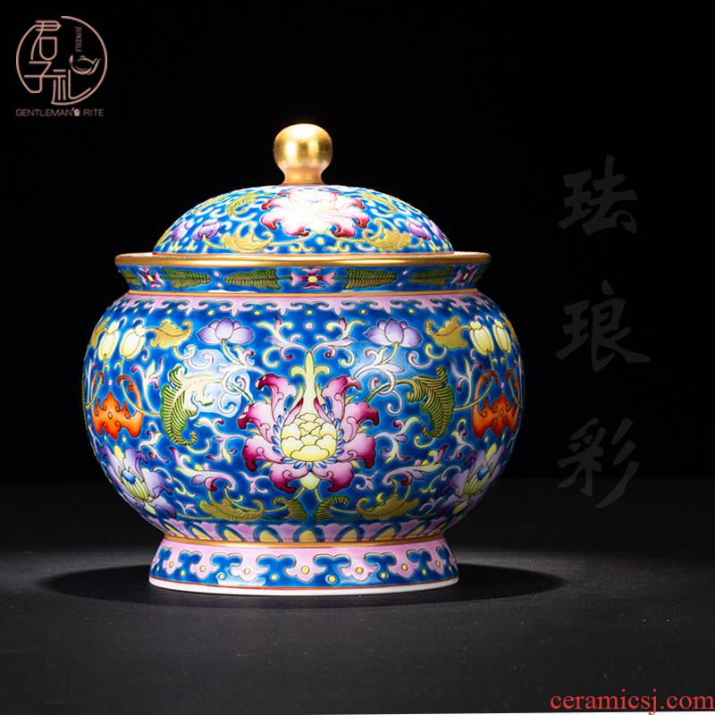 Checking out tea sets jingdezhen ceramics colored enamel paint heavy dark blue caddy fixings gifts for storage tank