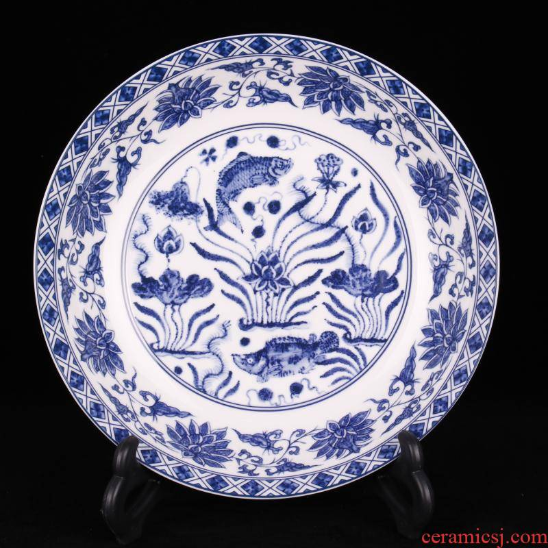 Jingdezhen imitation qianlong mackerel algal lines to admire the plate of classical Ming and the qing dynasties home sitting room antique decorative porcelain furnishing articles