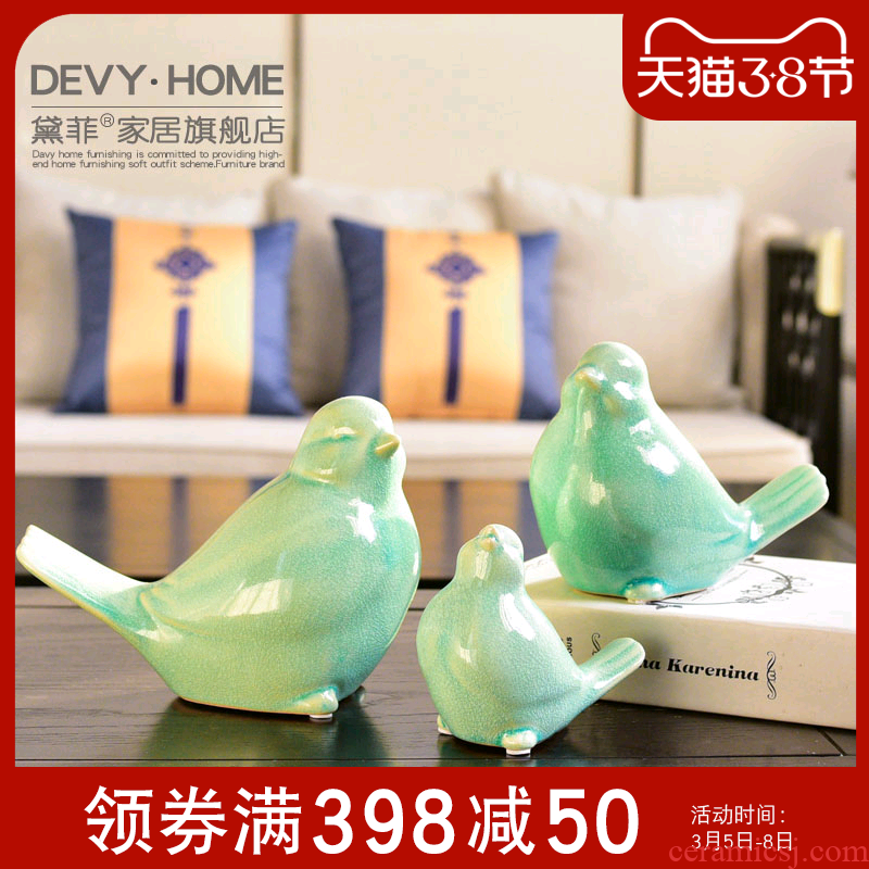 Modern creative ceramic lovely bird wine furnishing articles sitting room TV cabinet study of new Chinese style household ornaments
