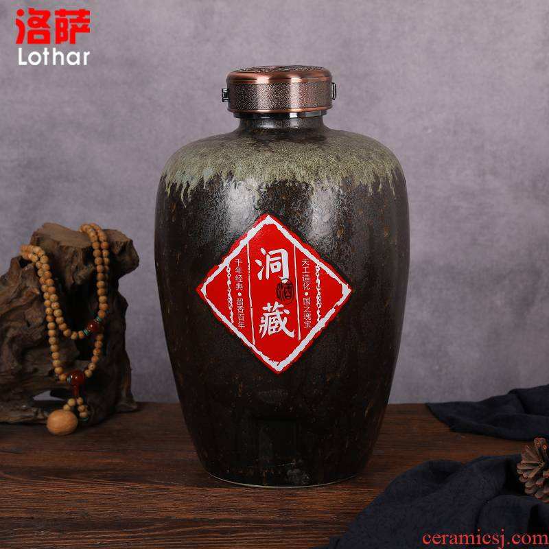 Jingdezhen ceramic jars to keep it sealed aged 30 jin wine GuanPing white mercifully jars of household
