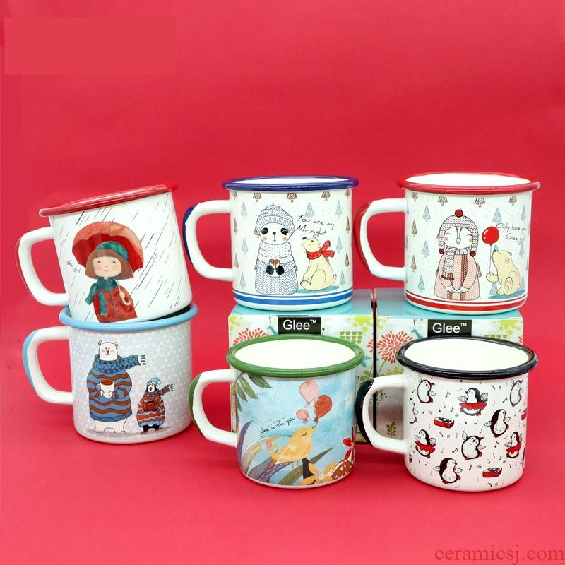 The New hand - drawn cartoon figures 】 【 enamel enamel cup milk cup adult children ultimately responds cup