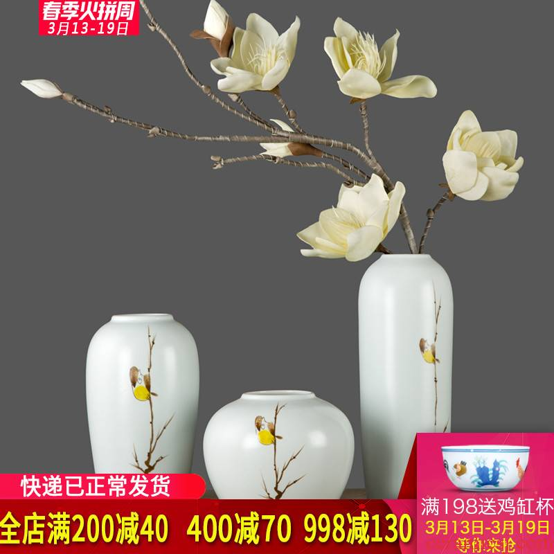 Jingdezhen ceramic vases, modern new Chinese vase of flower arranging flower art simulation figure into zen furnishing articles in the living room