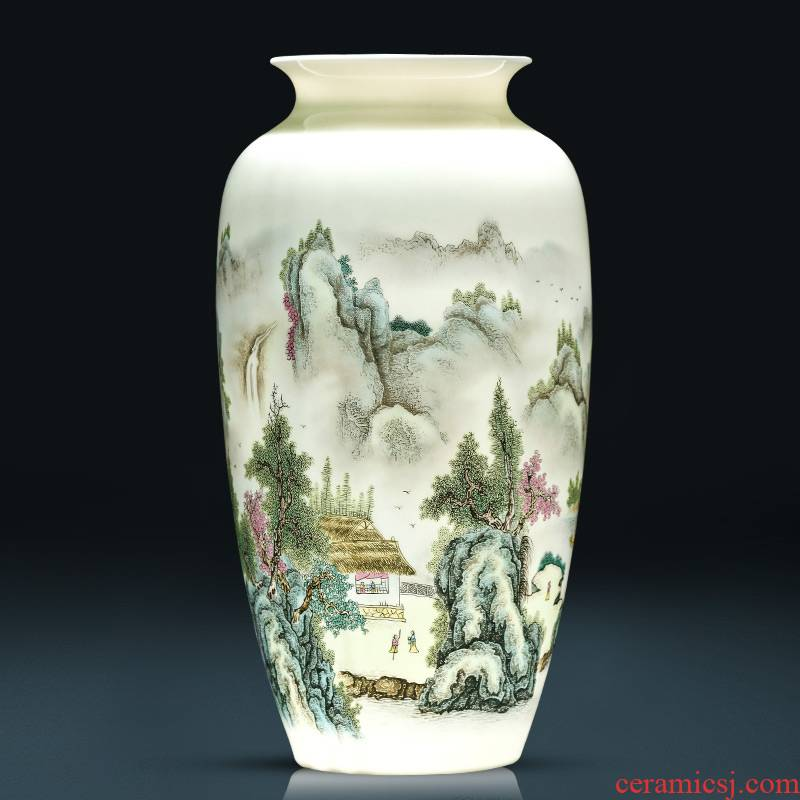 Jingdezhen ceramic vase furnishing articles flower arranging dried flowers pastel landscape painting Chinese style household adornment bedroom living room