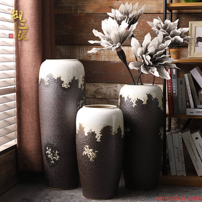 Ceramic vase landing sitting room flower arranging furnishing articles I and contracted Europe type restoring ancient ways fake flower receptacle household size flowerpot