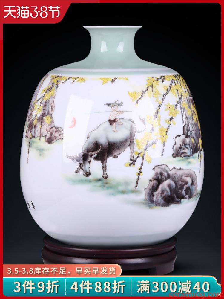 Jingdezhen ceramics flower adornment masters creation ChunNiu figure of new Chinese style household, sitting room porch place
