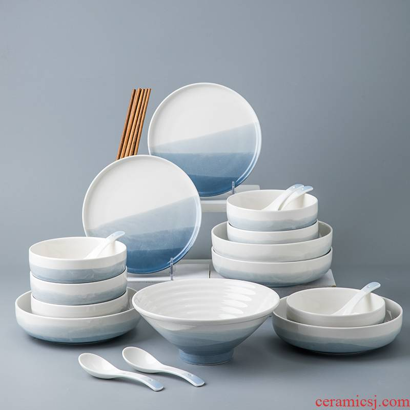 Porcelain leisurely continental one food bowl chopsticks tableware use under a delicate dishes tableware suit dish food
