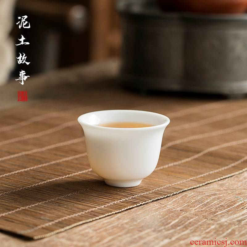 Earth story sweet white trumpet tea cup clock bell koubei ceramic personal kung fu tea cups with parts