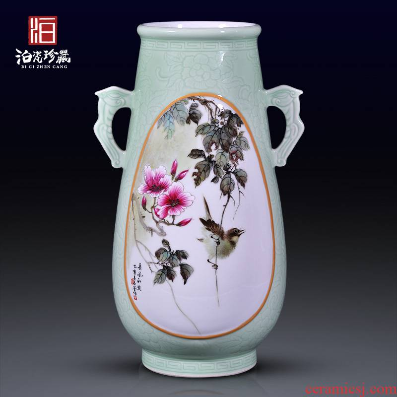 Jingdezhen ceramic hand - made all warm, birds and flowers, flower vase collection of adornment of Chinese style household furnishing articles in the living room