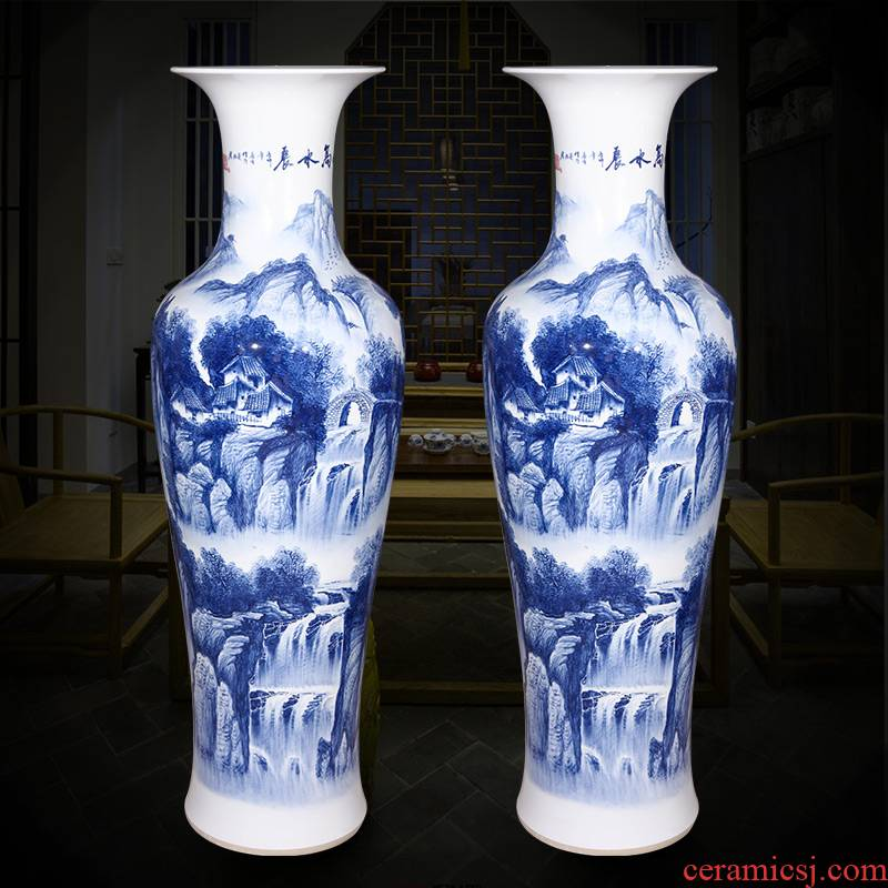 Jingdezhen ceramics hand - made landscape painting of large blue and white porcelain vase Chinese style living room TV cabinet porch place