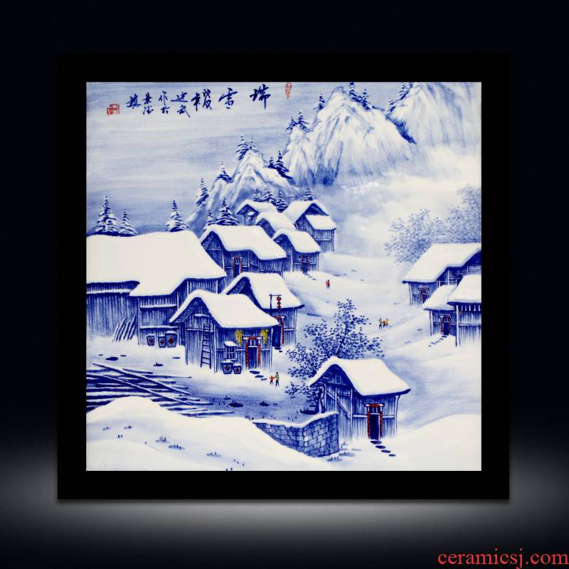 Sitting room adornment snow figure porcelain plate painting sofa setting wall hangs a picture of the new Chinese style office snow mural