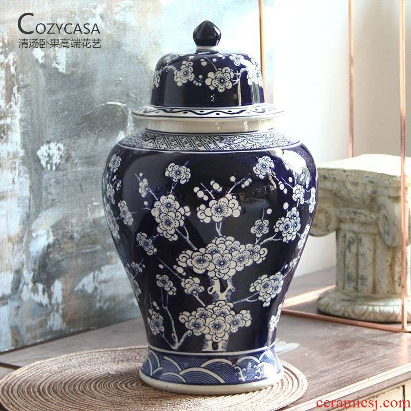 Oriental aesthetic name plum flower general lines hand - made as cans of jingdezhen blue and white porcelain ceramic vase Chinese vase is placed in the living room