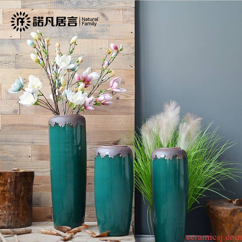 European ceramic vase landing light key-2 luxury living room decoration to the hotel club dried flower arranging flowers is placed large blackish green flowerpot