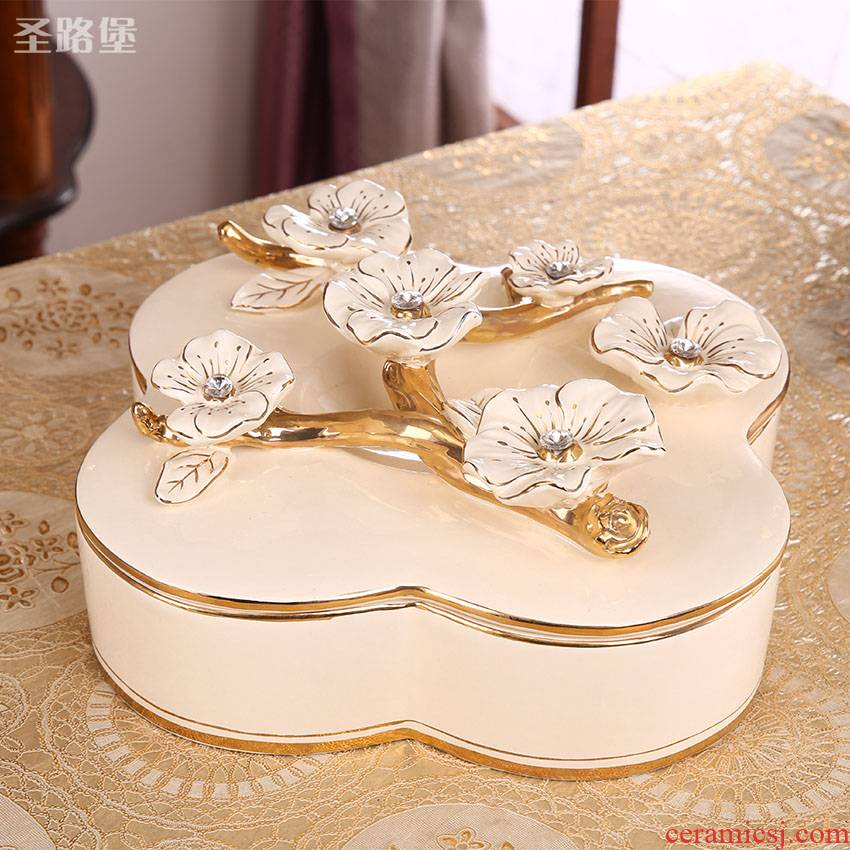 Europe type dry fruit tray frame with cover creative tea table is placed in the living room home large ceramic candy box of continental plate