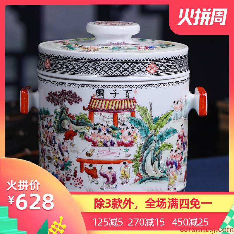 Jingdezhen ceramic hand - made the ancient philosophers figure sealed POTS produces a large tea packaging household porcelain pot