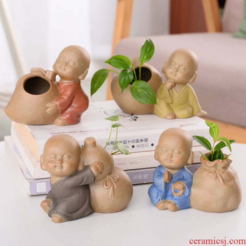 Hydroponic copper grass flower POTS zen monk Hydroponic other desktop furnishing articles dried flowers, the young monk goody bag vases, pottery and porcelain