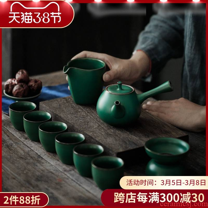 ShangYan ceramic kung fu tea set suit household Japanese side put the pot of tea of a complete set of tea, the teapot tea service contracted