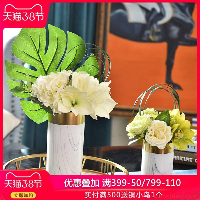 Light the key-2 luxury of ceramic vases, flower art flower arranging marble texture modern living room table European creative decorations furnishing articles