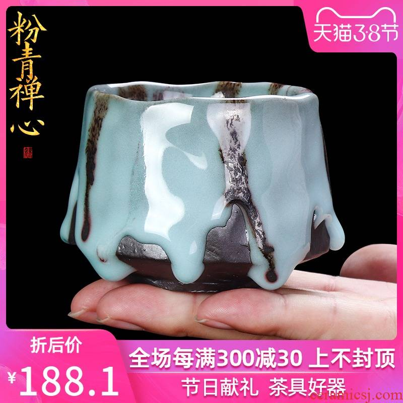 Coarse pottery teacup checking ceramic creative household Japanese ancient up master cup tea cup single cup size