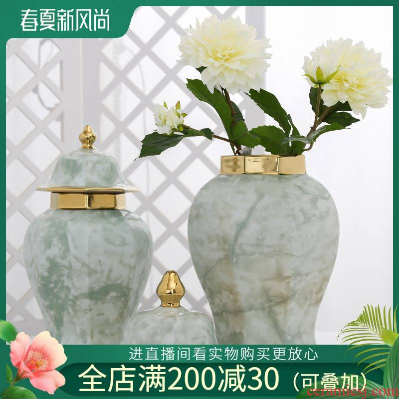 Jingdezhen ceramic light key-2 luxury furnishing articles simulation flower vase decoration living room table household decoration flower arranging flower art