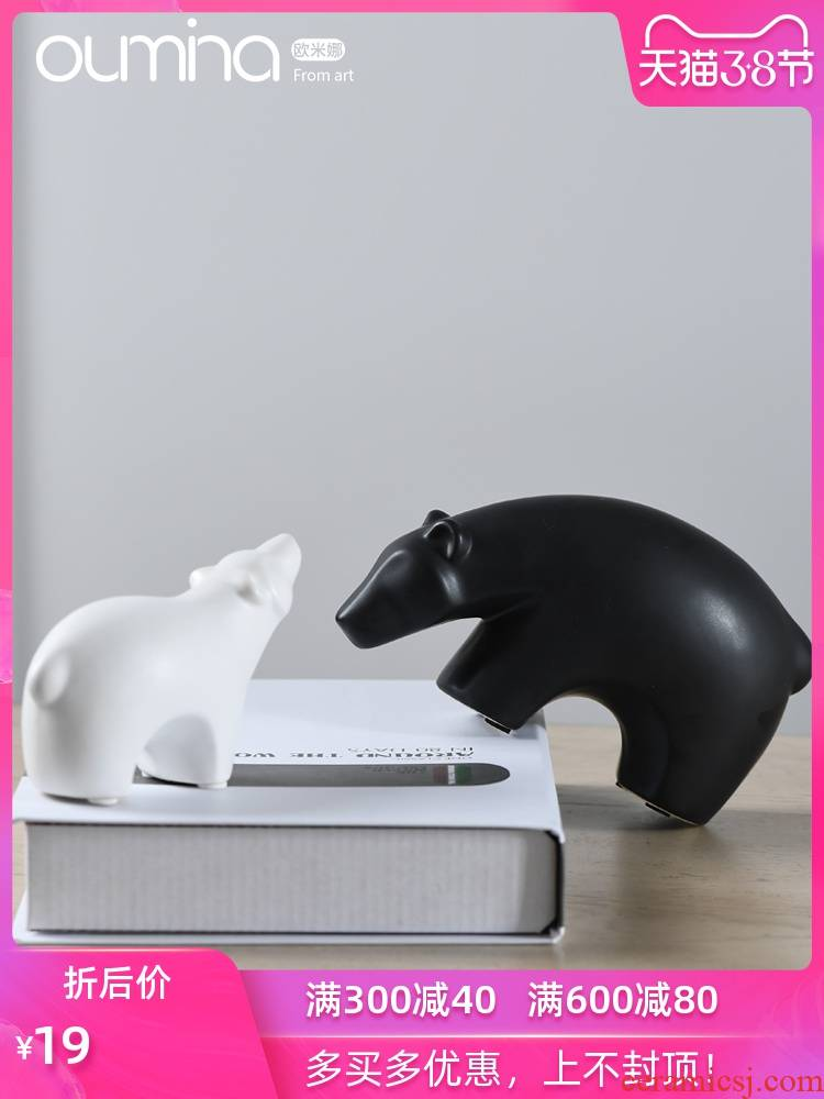 Furnishing articles of desk bookcase home decoration decoration bear Scandinavian ceramic soft outfit domestic act the role ofing fashion creative gift