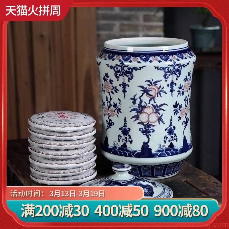 Furnishing articles antique hand - made porcelain of jingdezhen ceramics youligong puer tea caddy fixings storage jar size