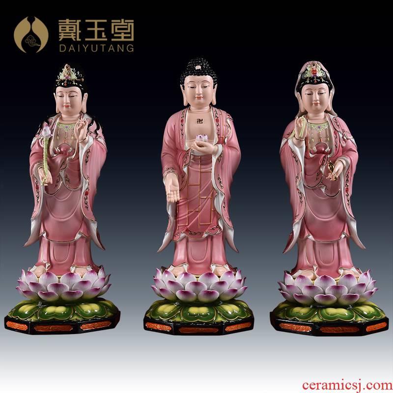 Yutang dai dehua ceramic buddhist temple consecrate Buddha handicraft furnishing articles/sitting room 23 inches full lotus three west st