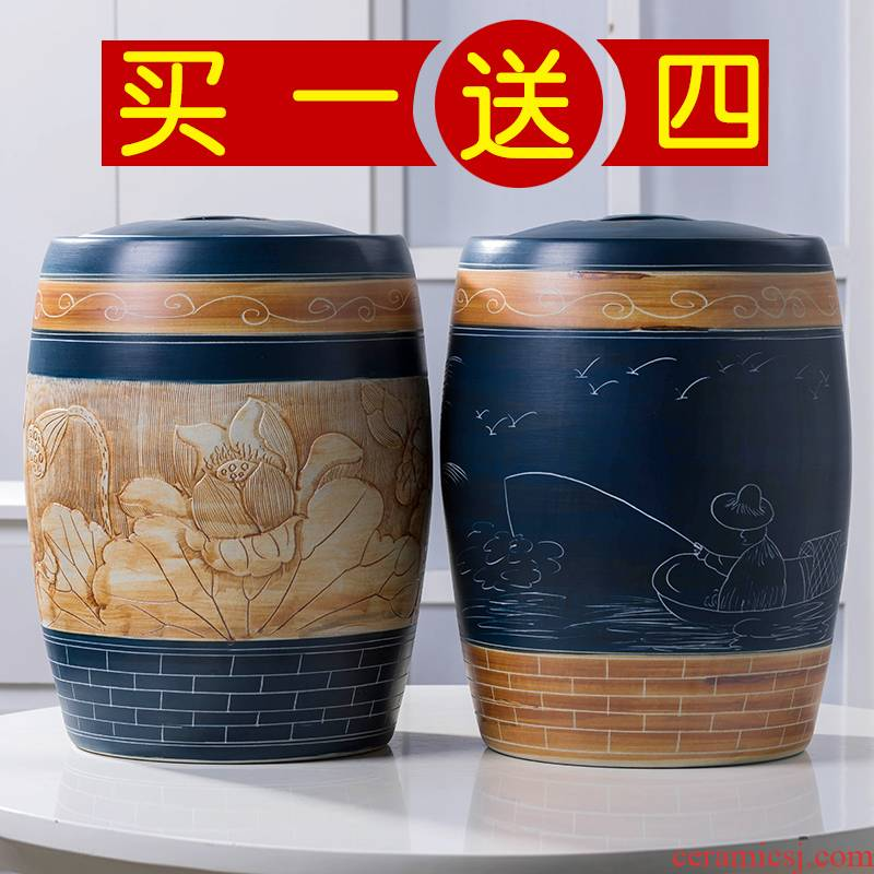 Jingdezhen ceramic barrel rice bucket 30/50 jin household rice storage box with cover seal insect - resistant moistureproof tank