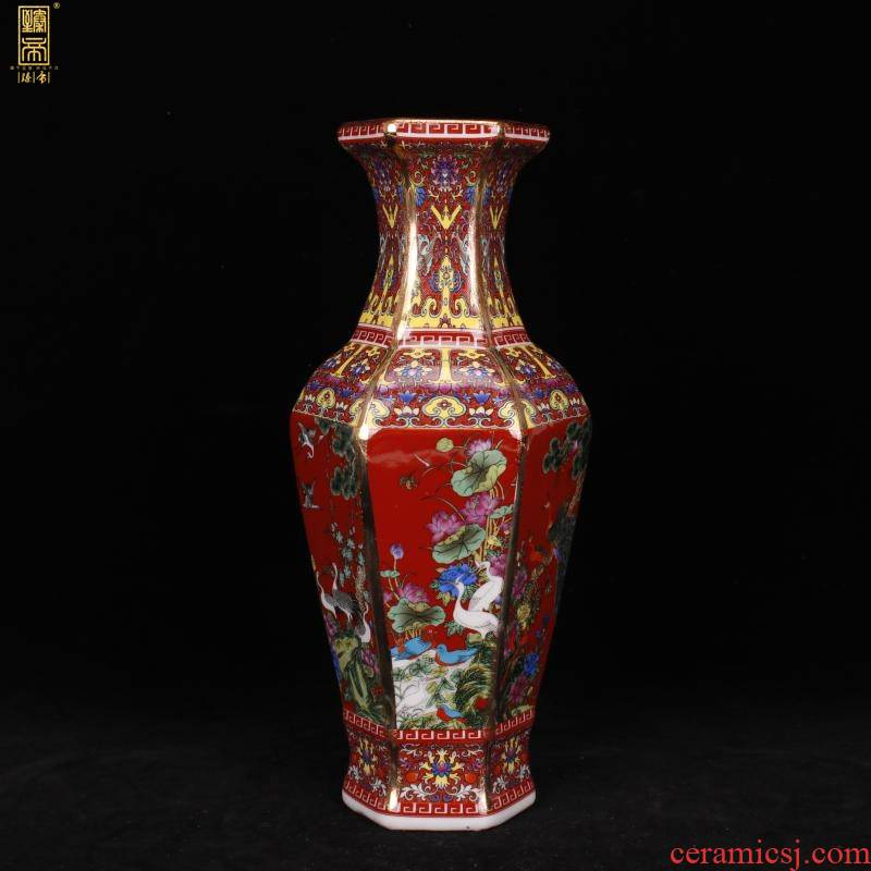 Jingdezhen imitation qianlong six - party colored enamel vase of new Chinese style red to birds and flowers sitting room adornment antique antique furnishing articles